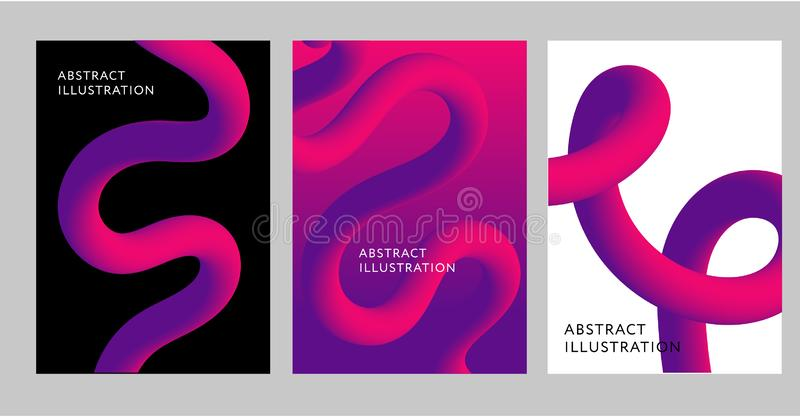 抽象创造性的设计3d流程形状液体传染媒介2019年 库存例证