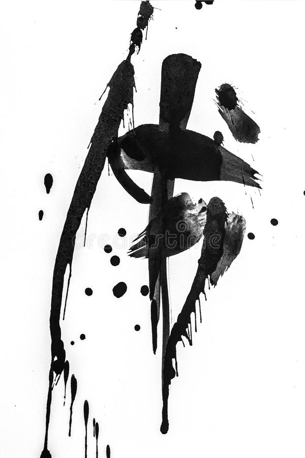 抽象刷子冲程和飞溅油漆在白皮书 创造性的墙纸或设计书刊上的图片的水彩纹理,染黑a 免版税库存图片