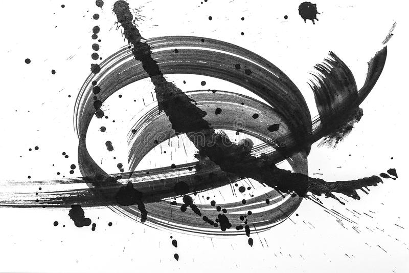 抽象刷子冲程和飞溅油漆在白皮书 创造性的墙纸或设计书刊上的图片的水彩纹理,染黑a 库存图片