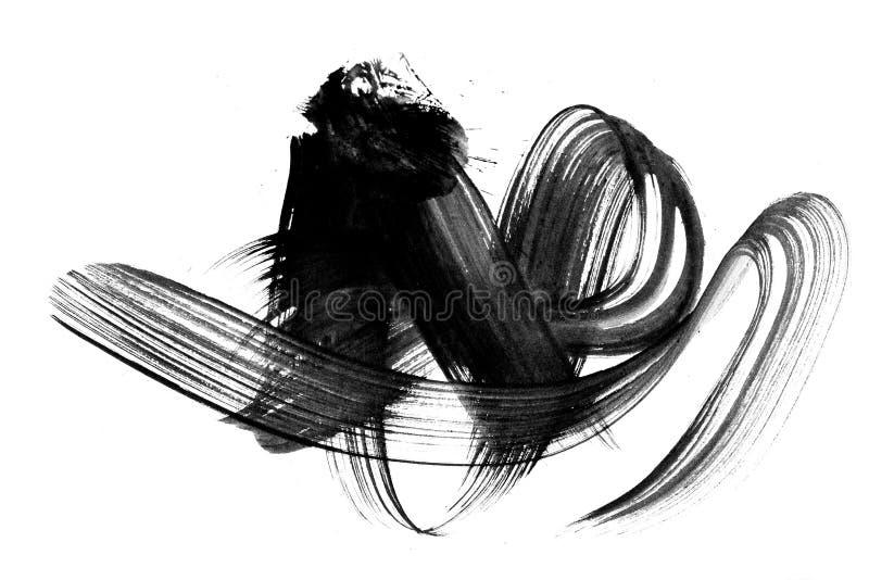 抽象刷子冲程和飞溅油漆在纸 watercolo 库存例证