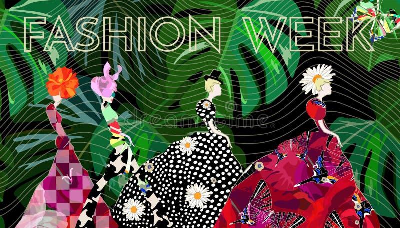 抽象剪影女孩,礼服,帽子,文本时尚星期 皇族释放例证