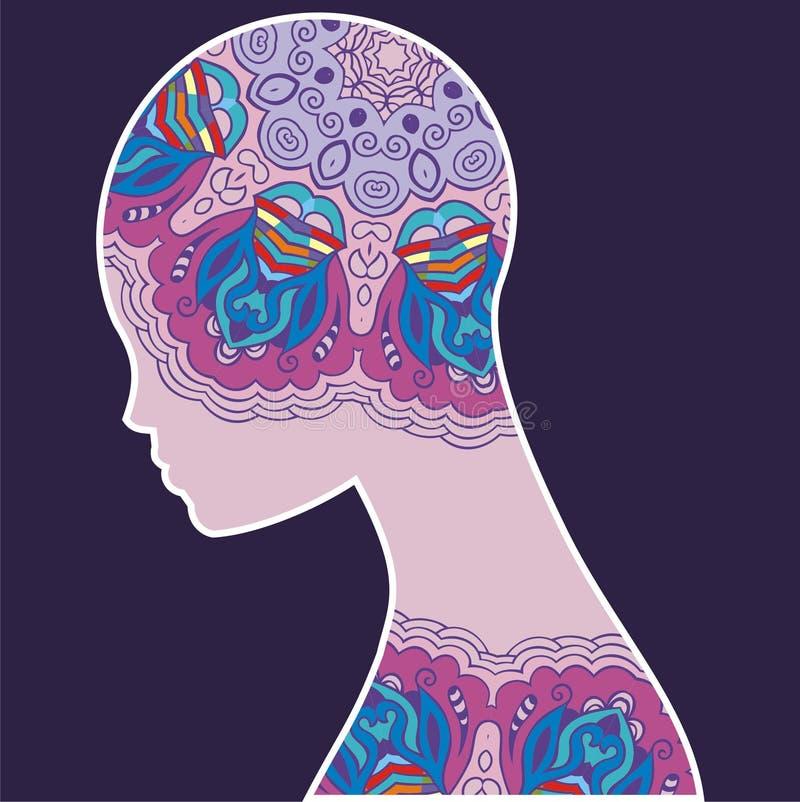 抽象剪影妇女 灵魂的幻想图象,头脑 向量例证