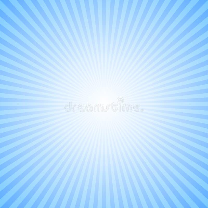抽象动态太阳发出光线背景-从辐形条纹的蓝色传染媒介例证 库存例证