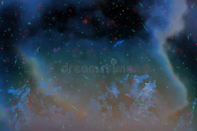抽象动态幻想蓝色火和烟五颜六色的背景与火花和发烟 免版税库存照片