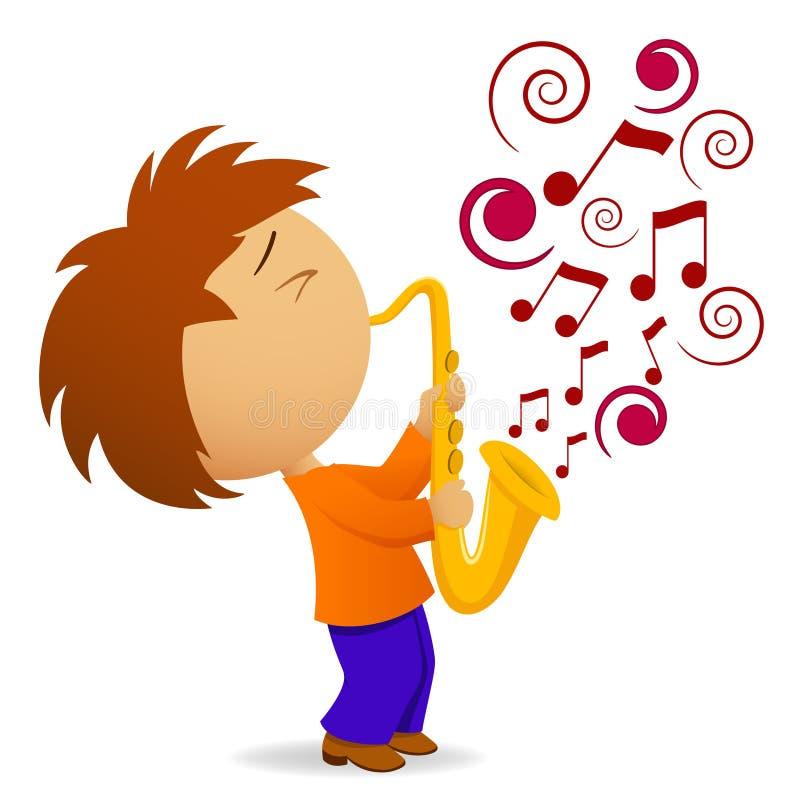 抽象动画片音乐附注萨克斯管吹奏者 向量例证