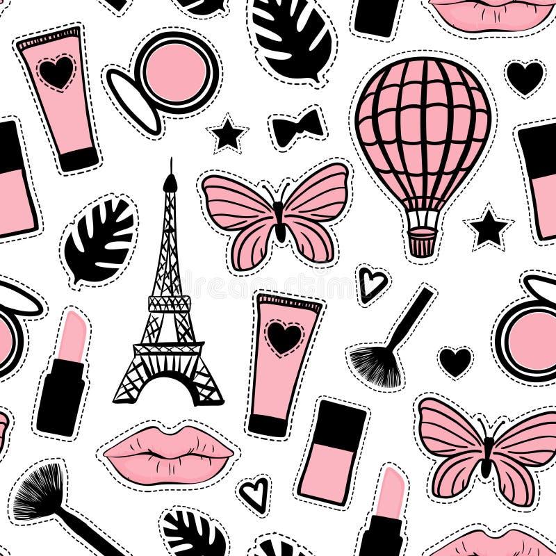 抽象化妆用品 无缝的样式时尚样式 巴黎埃菲尔铁塔标志 在白色隔绝的传染媒介例证娘儿们贴纸 库存例证