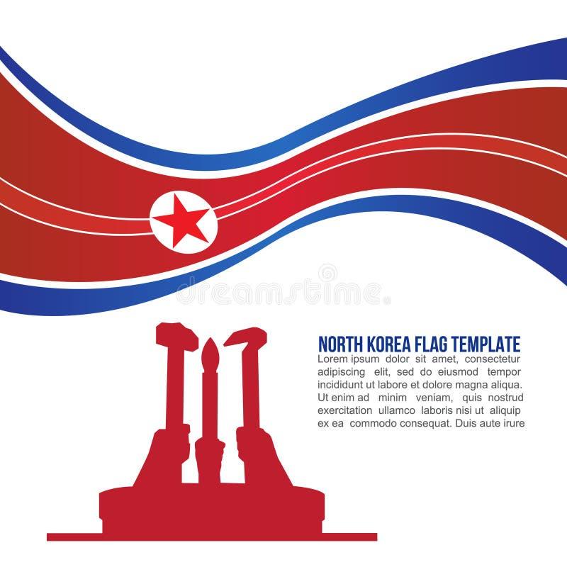 抽象北朝鲜旗子波浪和北朝鲜Workers'集会纪念碑寺庙 皇族释放例证