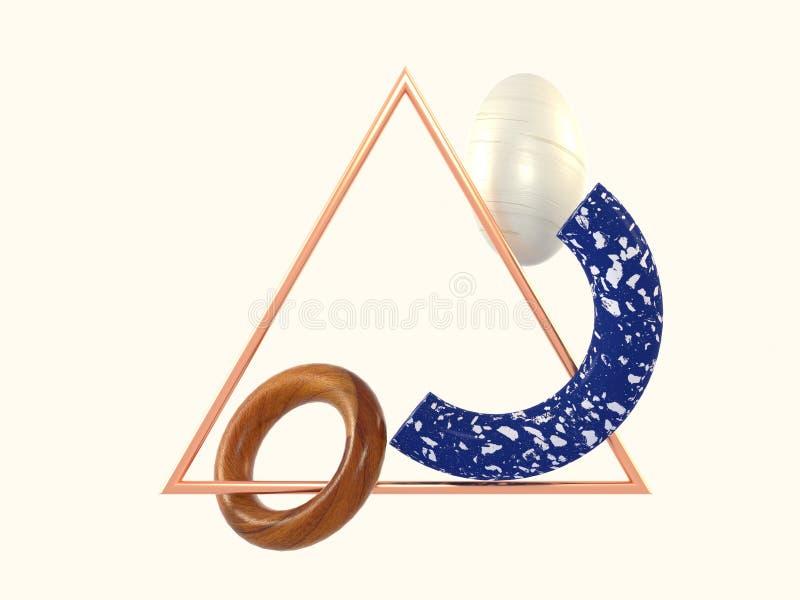 抽象升空场面几何摘要形状蓝色大理石木三角铜框架3d翻译 向量例证