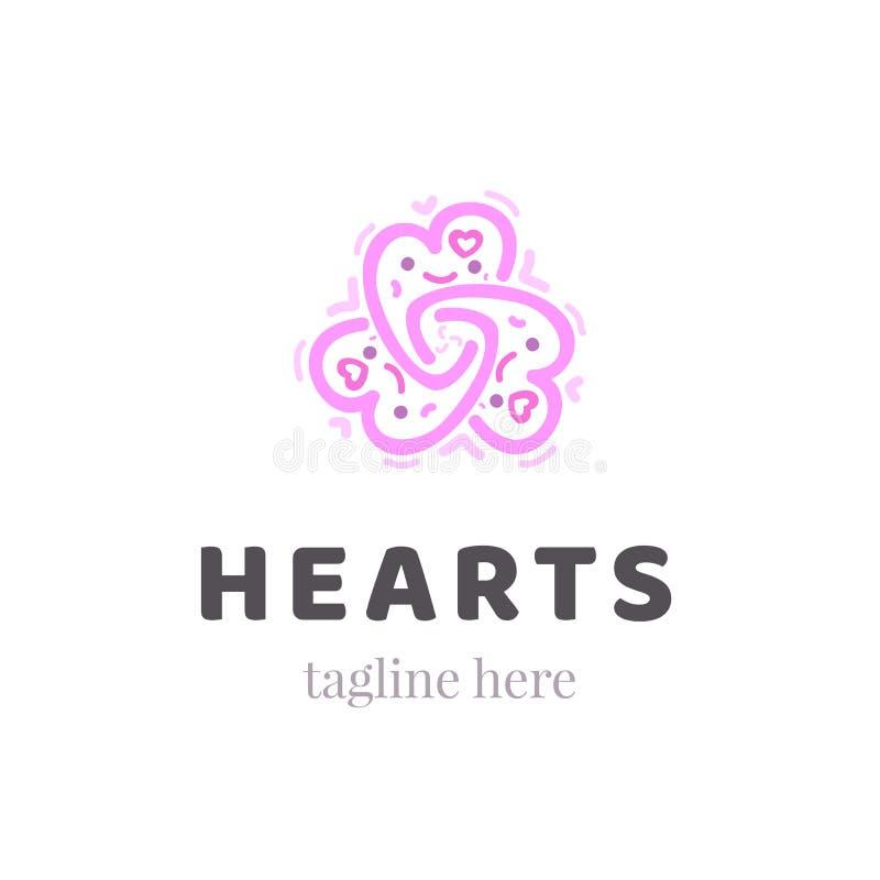 抽象华丽心脏图形符号 装饰商标模板 公司秀丽或温泉交谊厅象设计 库存例证