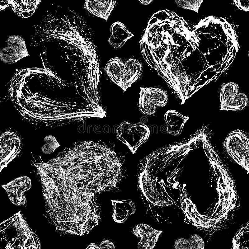 抽象华伦泰心脏无缝的样式 向量例证