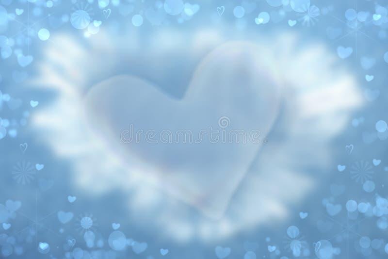 抽象华伦泰背景 与大蓝色心脏的Abtract欢乐迷离明亮的蓝色背景华伦泰或婚礼的 库存例证
