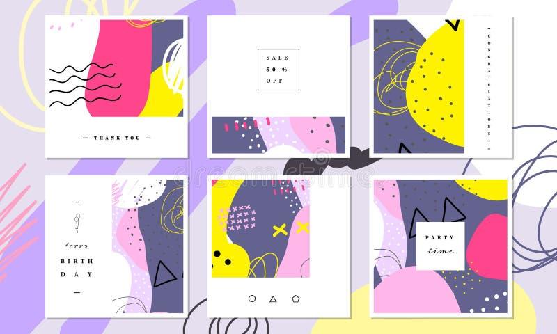 抽象卡片收藏 美好的艺术绘画上色与手社会媒介横幅的图画元素,谢谢卡片 向量例证