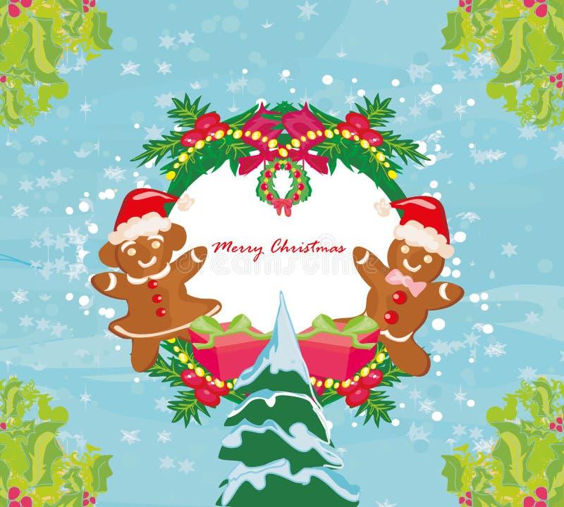 抽象卡片用圣诞节姜饼 向量例证