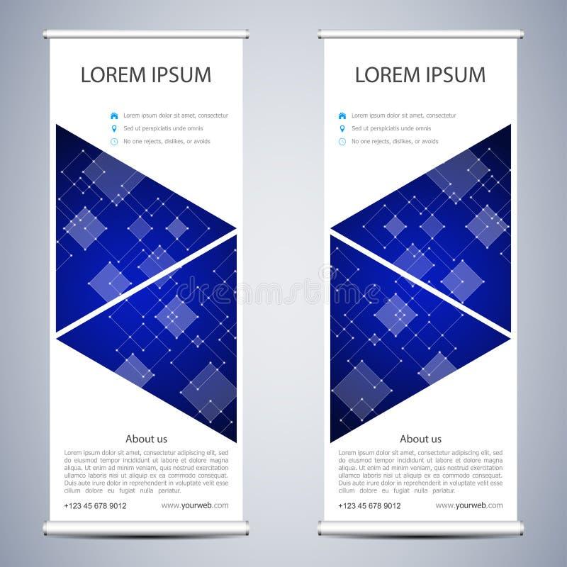 抽象卷起介绍和出版物的横幅 科学,技术 向量例证