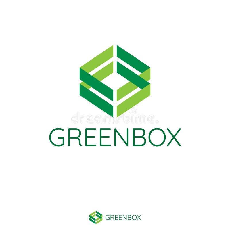抽象双重绿色箭头做箱子形状 向量例证
