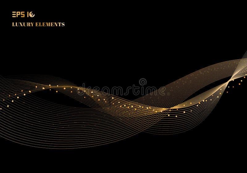 抽象发光的与gli的颜色闪耀的金波浪设计元素 皇族释放例证
