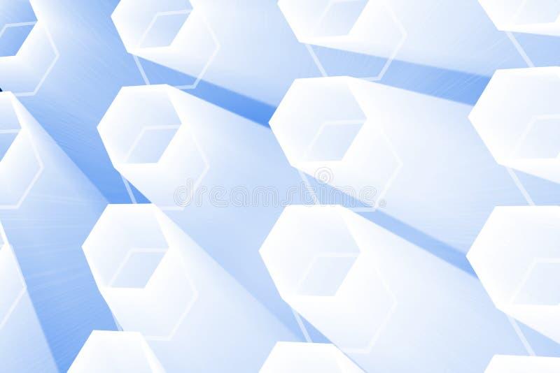 抽象发光的六角形 库存例证
