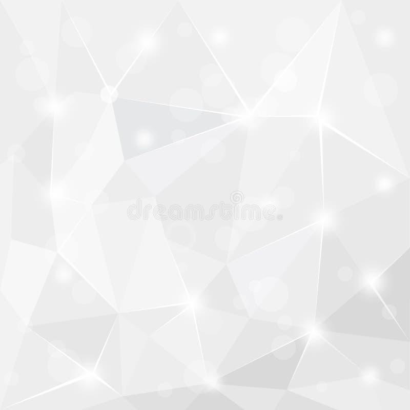 抽象发光的多角形几何白色灰色和银色背景墙纸设计 皇族释放例证