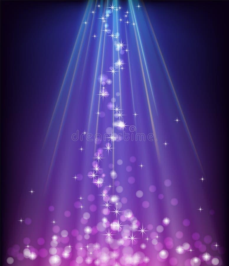 抽象发光的蓝色紫色背景 库存例证
