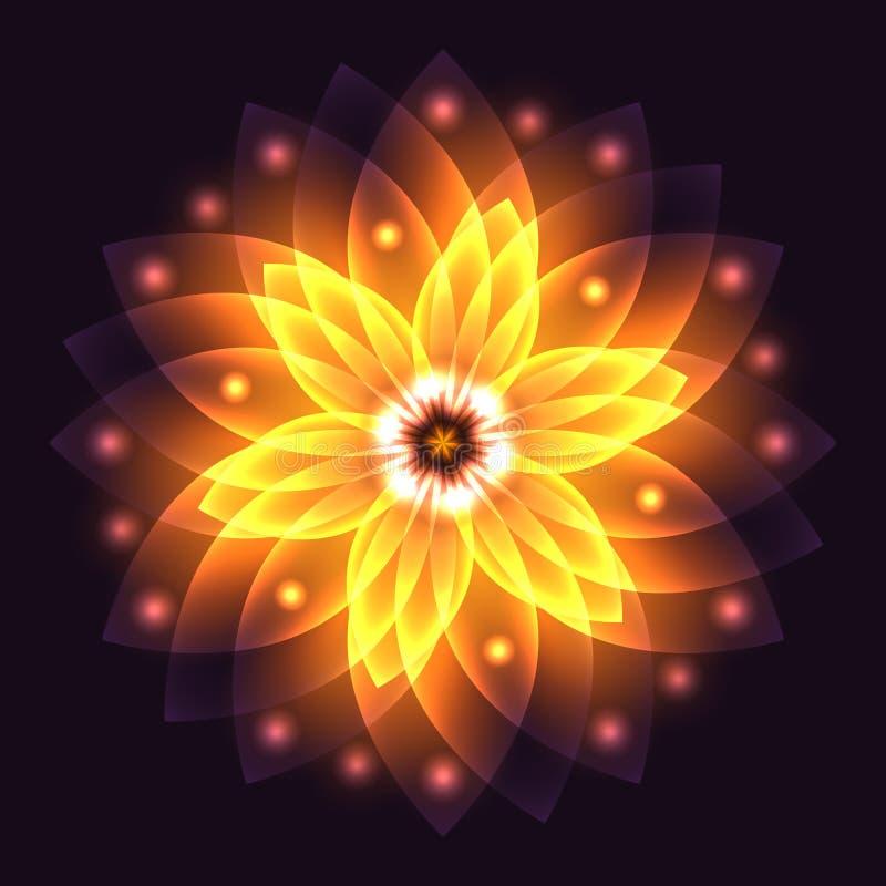 抽象发光的轻的生活的花、标志和能量,火 库存例证