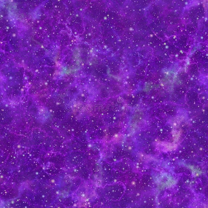 抽象发光的紫罗兰色宇宙 多云夜满天星斗的天空 紫色星云外层空间 背景砖老纹理墙壁 无缝例证的绳索 向量例证