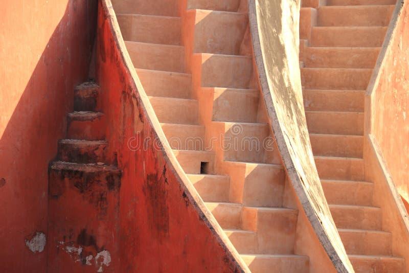 抽象台阶在Jantar Mantar,新德里,印度 库存照片