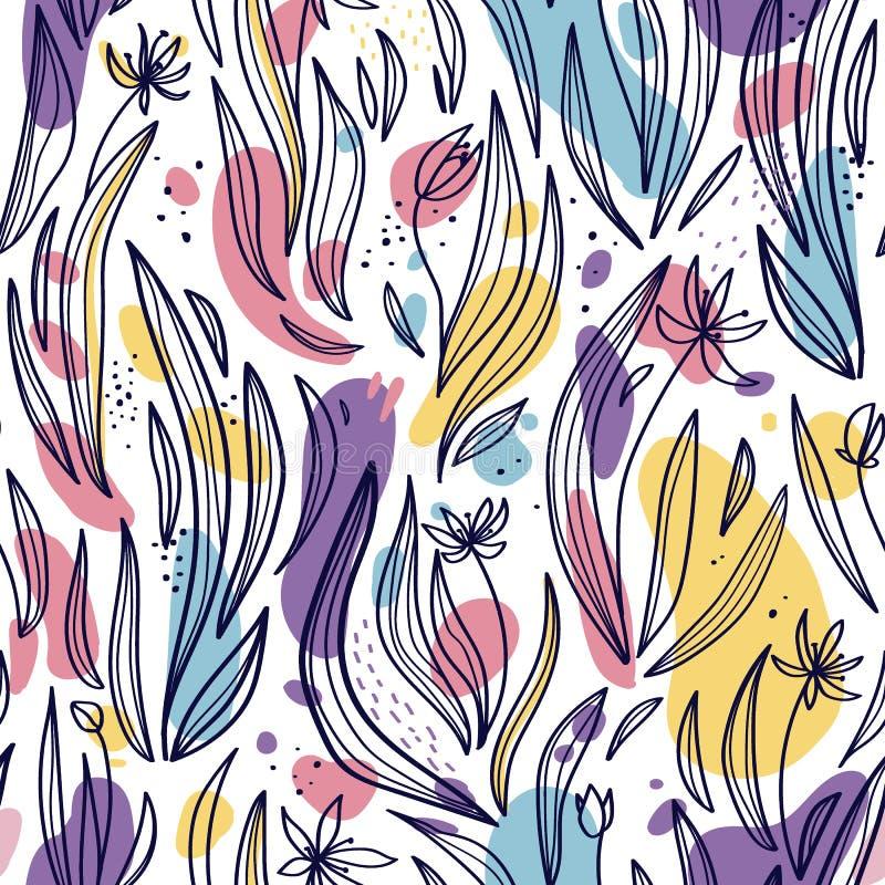 抽象叶子、花和斑点的无缝的样式在白色背景 皇族释放例证