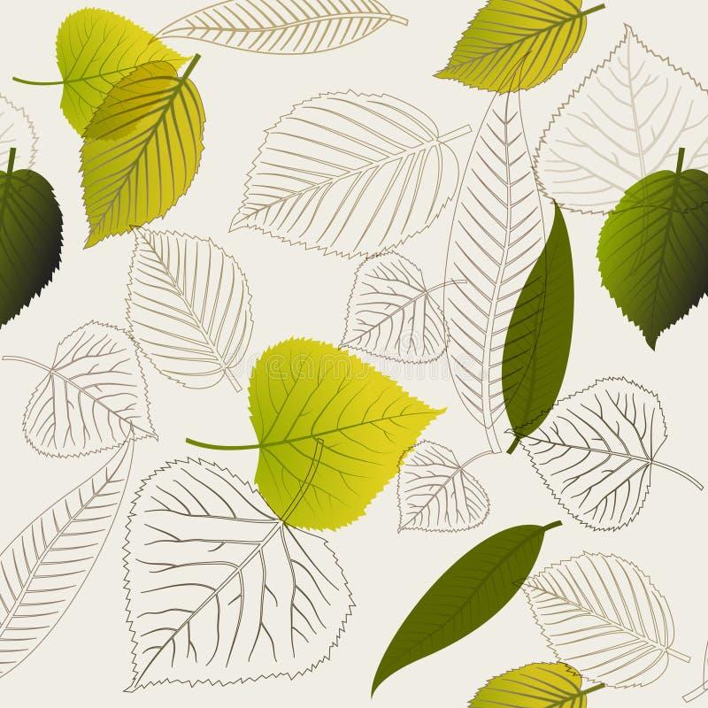 抽象叶子仿造无缝的春天 库存例证