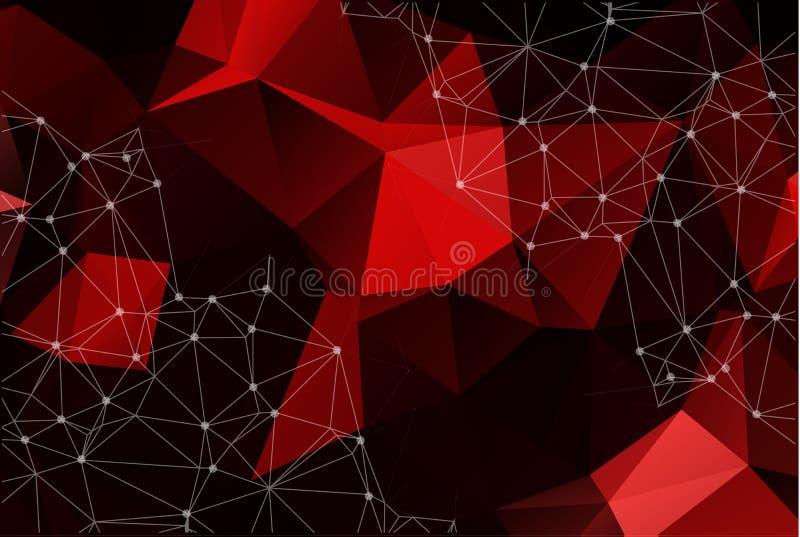 抽象向量空间红色背景 混乱被连接的poin 库存例证