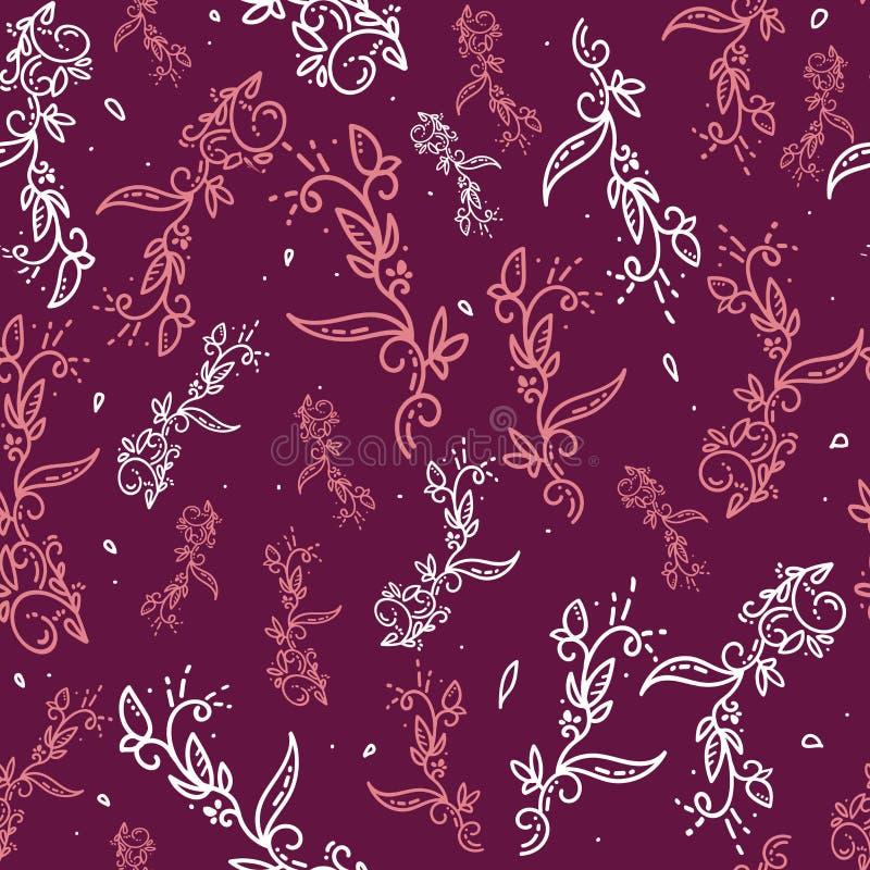 抽象向量花卉背景 装饰冷淡或乱画花卉红色背景 设计墙纸的无缝的样式, 向量例证
