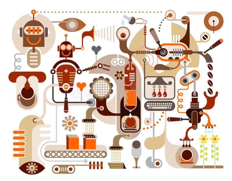 抽象咖啡工厂例证向量 皇族释放例证