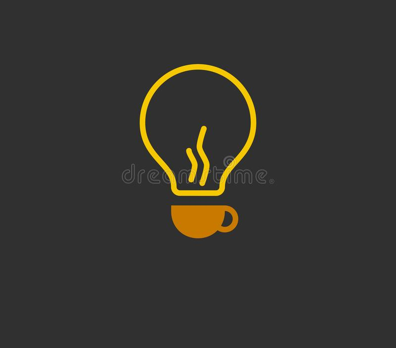Abstract coffee bulb logo 孤立矢量插图 库存例证