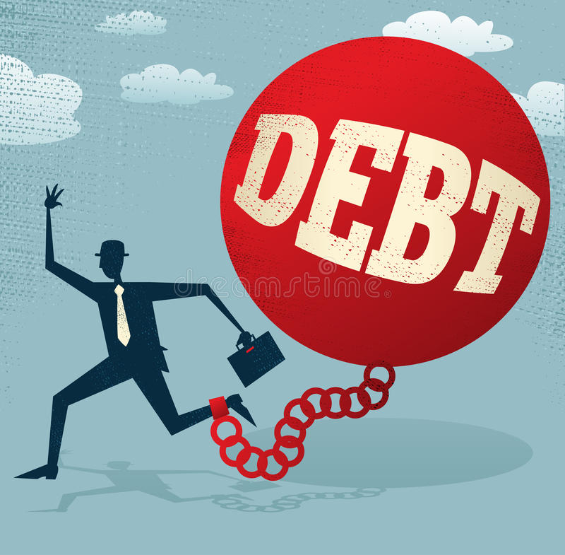抽象商人在债务球和查家锁了 库存例证