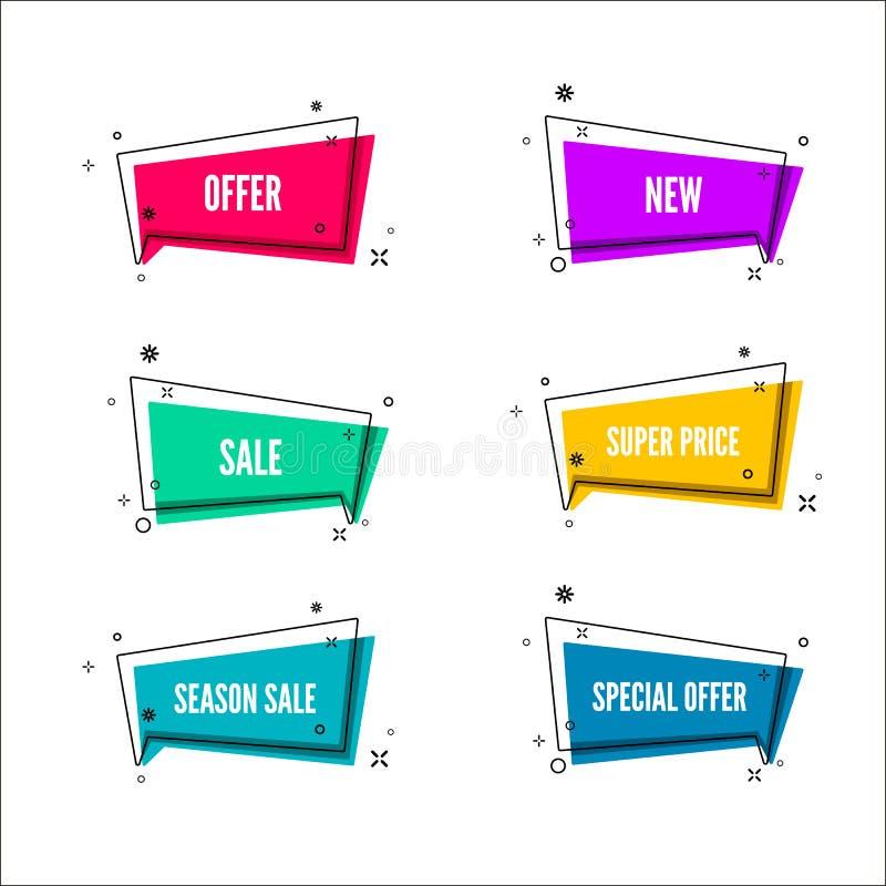 抽象商店提议横幅 与促进文本的五颜六色的泡影 套几何电视节目预告模板 向量 向量例证