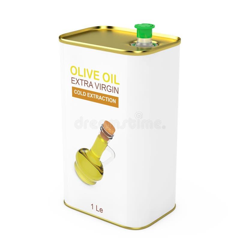 抽象商标橄榄油额外维尔京金属罐头 3d翻译 库存例证