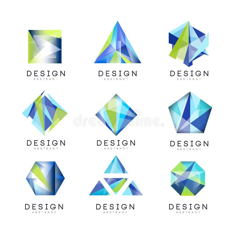 抽象商标设计集合,水晶宝石几何徽章传染媒介例证 库存例证