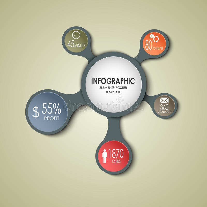 抽象圆的企业信息图表模板 库存例证
