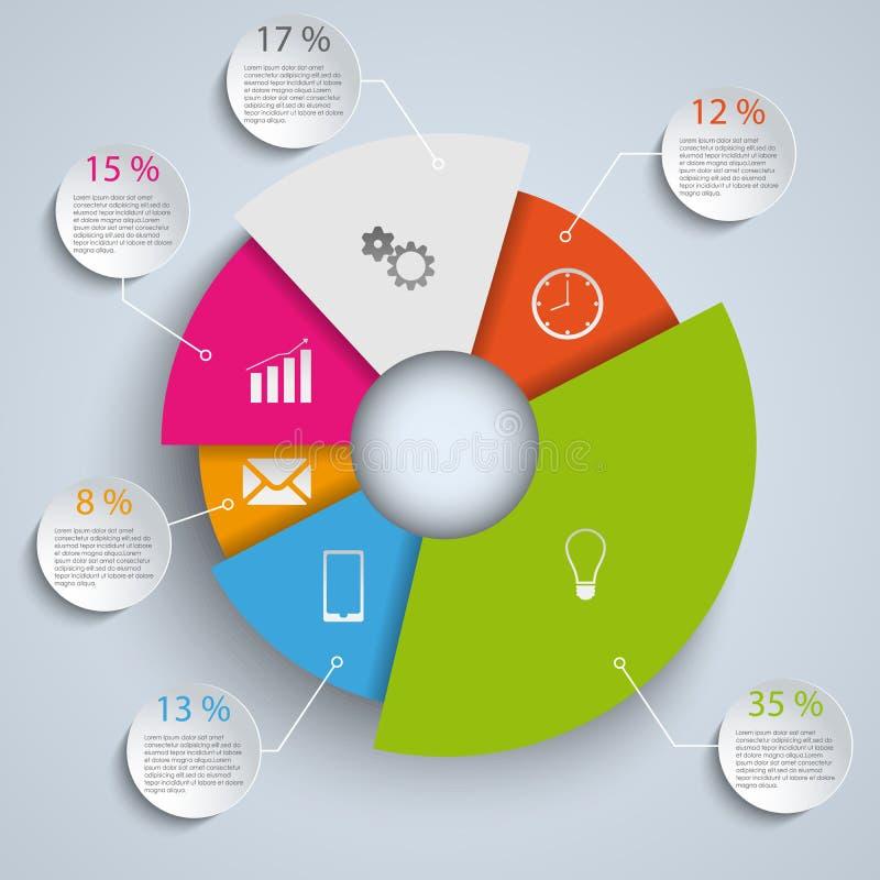 抽象圆的元素信息图表模板 向量例证