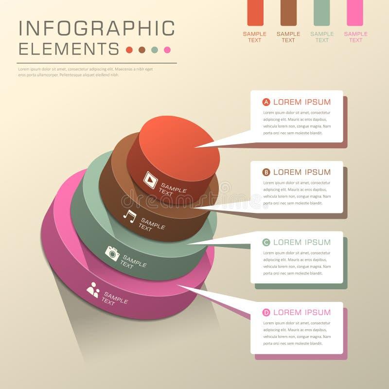 抽象圆筒塔图infographics 库存例证