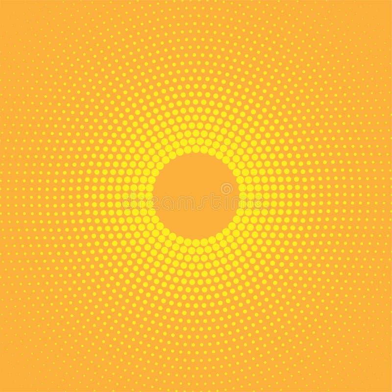 抽象圆黄色中间影调光点图形 向量例证