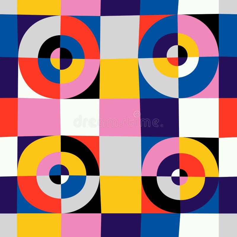 抽象圈子和方形的无缝的样式 向量例证