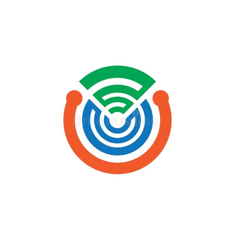 抽象圈子网络技术商标 库存例证