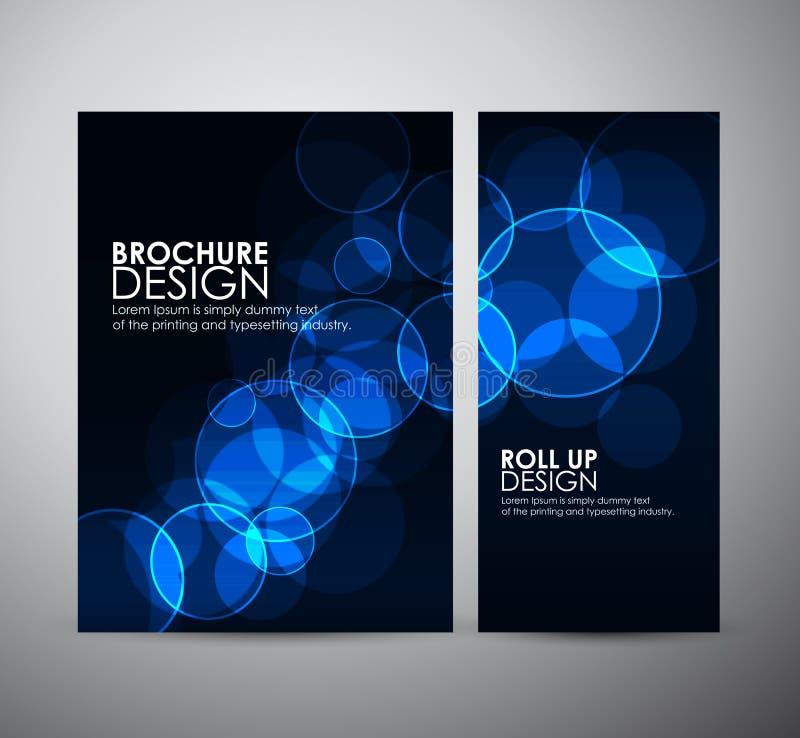 抽象圈子bokeh 小册子业务设计模板或卷起 库存例证