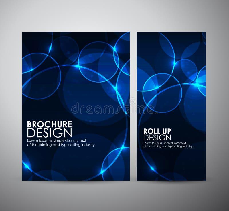 抽象圈子bokeh 小册子业务设计模板或卷起 皇族释放例证