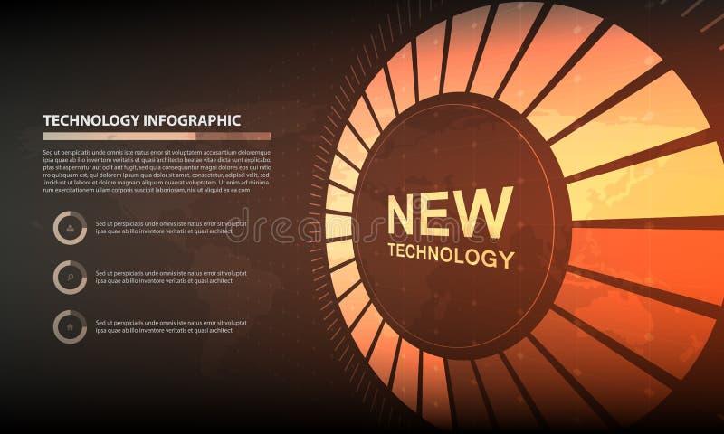 抽象圈子infographic数字技术背景, futur 皇族释放例证