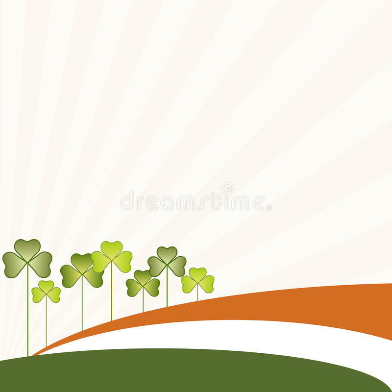 抽象圣帕特里克` s天背景、爱尔兰旗子和三有叶的三叶草 库存例证