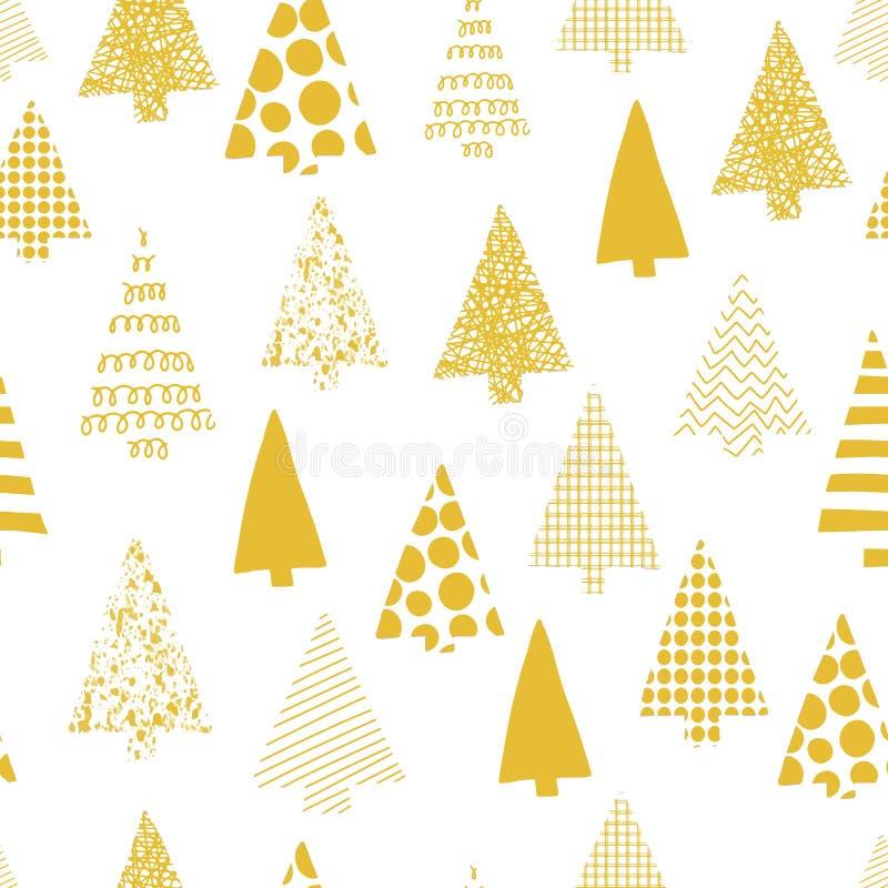 抽象圣诞树导航无缝的样式 圣诞树现出轮廓在白色背景的金子 现代圣诞节的设计 向量例证