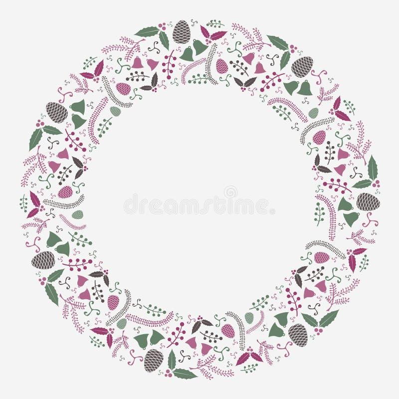 抽象圣诞节平的花圈构成传染媒介 图库摄影