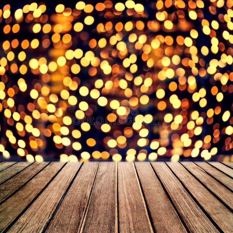 抽象圣诞节桌背景-美丽的木委员会桌 免版税库存图片
