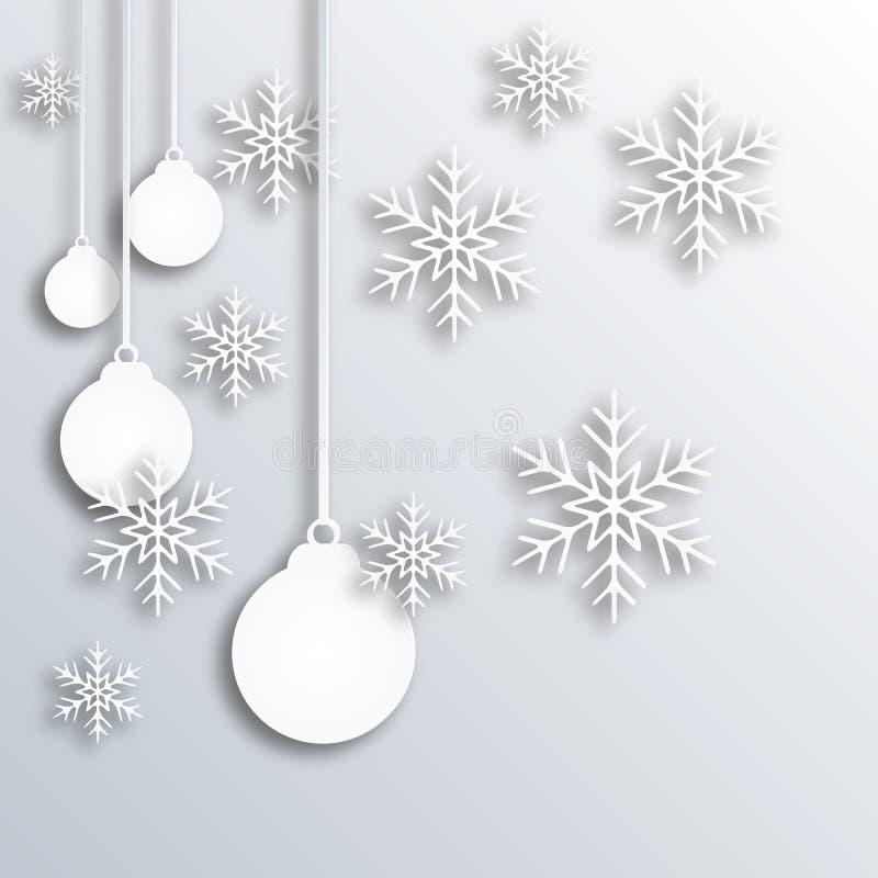 抽象圣诞节球,在白皮书的新年 向量例证